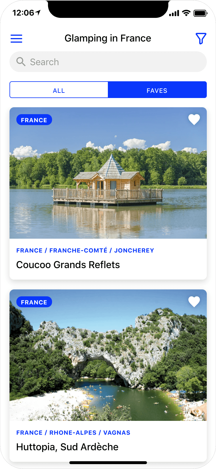 Glamping in France - search results page, app screenshot