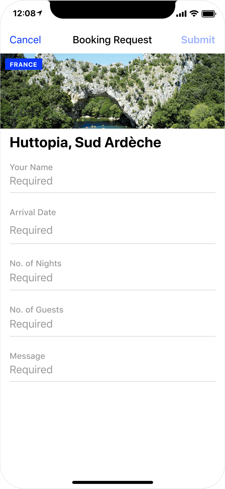 Glamping in France - booking request, app screenshot