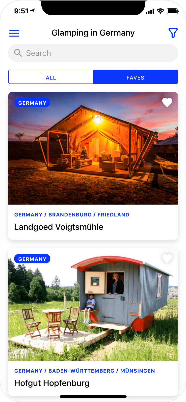 Glamping in Germany - search results page, app screenshot