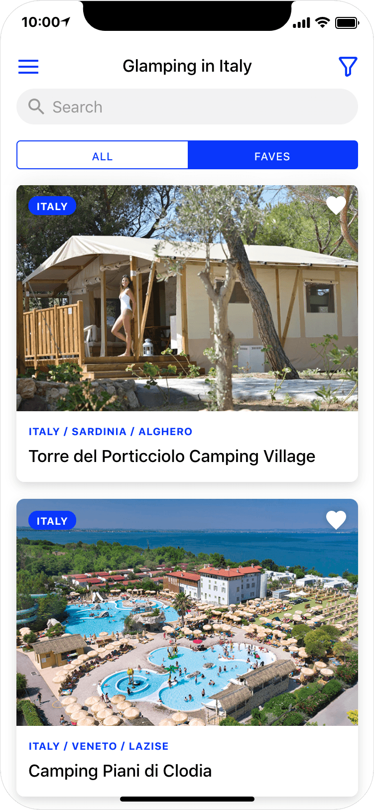 Glamping in Italy - search results page, app screenshot