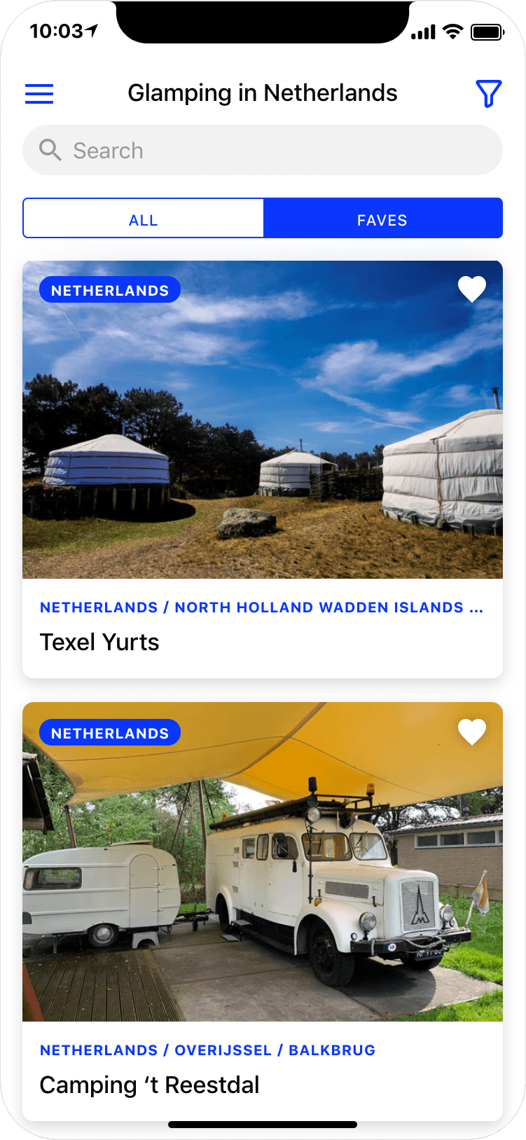 Glamping in The Netherlands - search results page of app screenshot