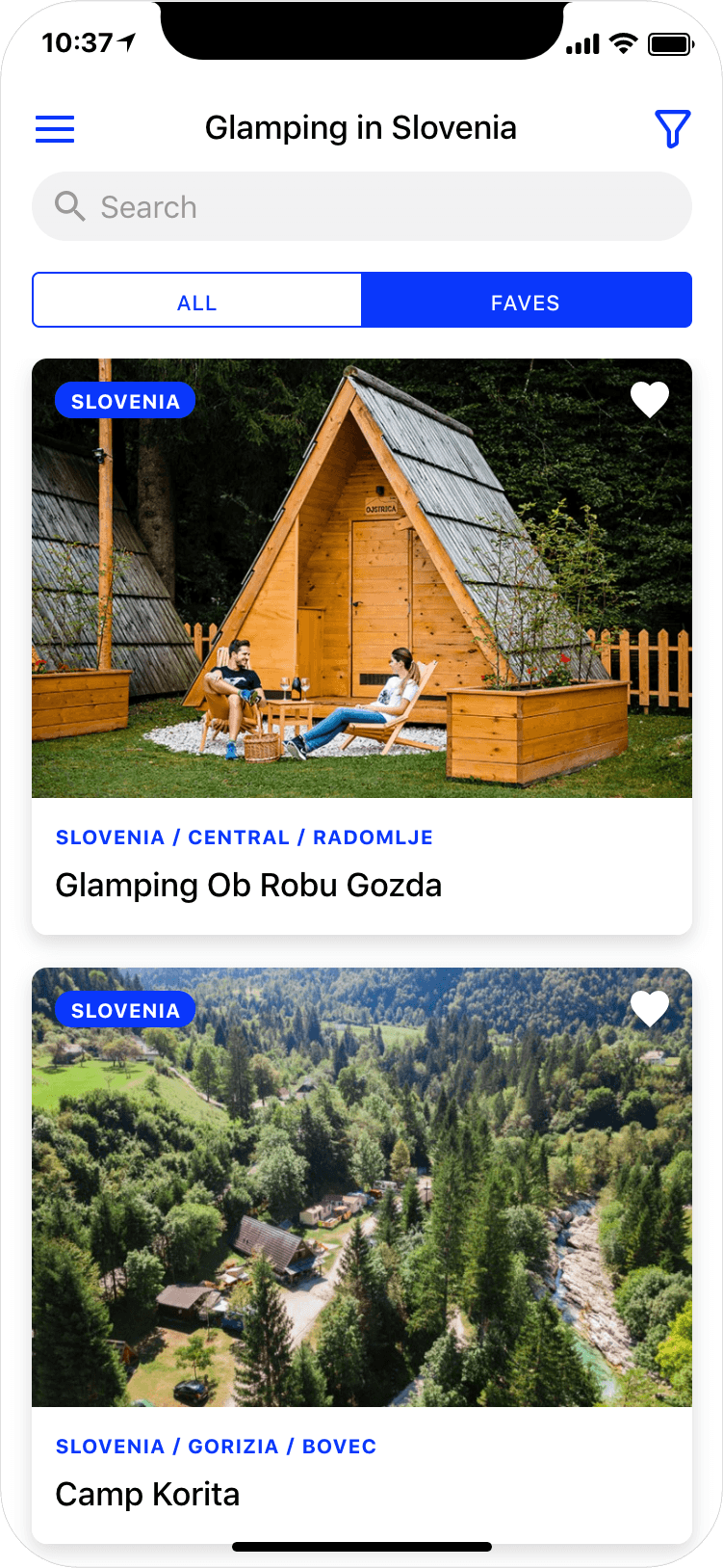 Glamping in Slovenia - search results page, app screenshot