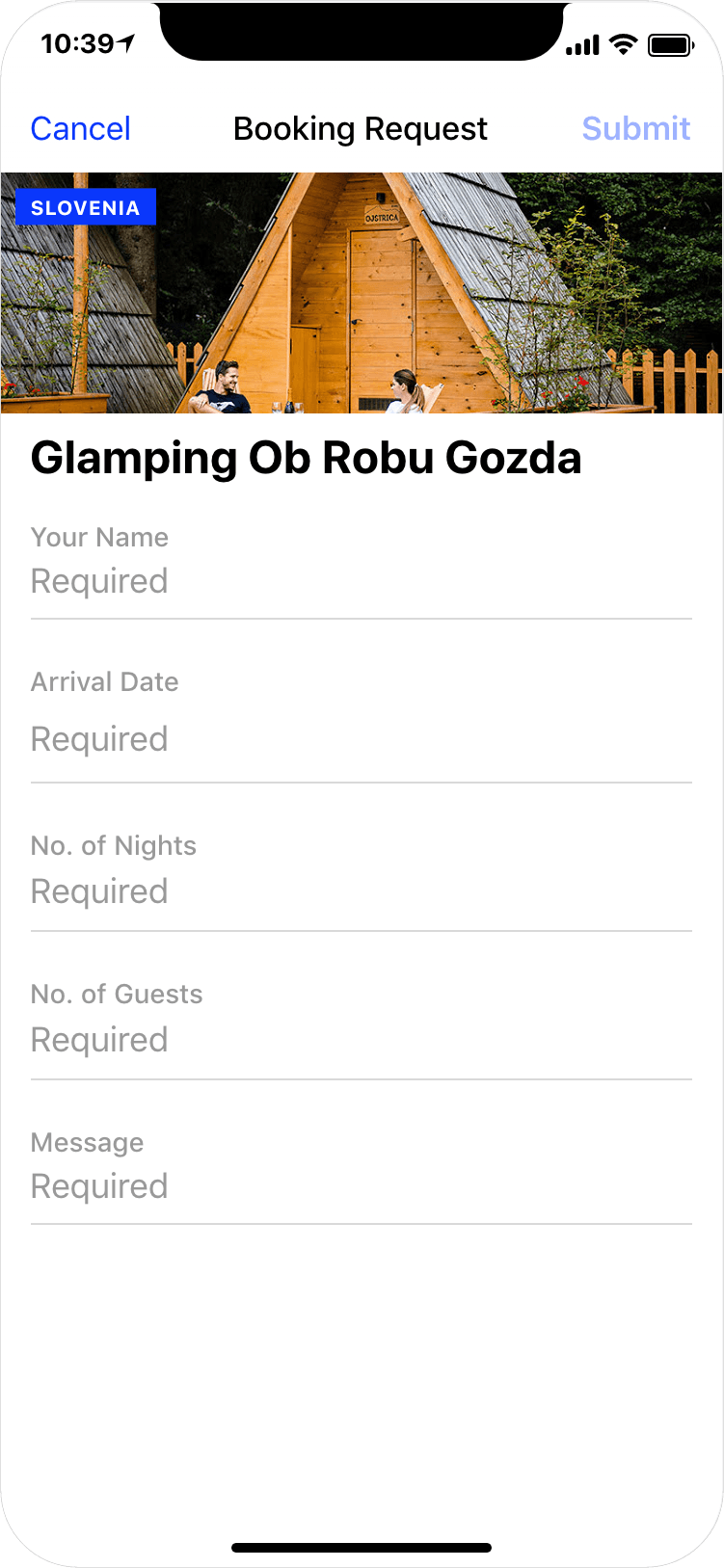 Glamping in Slovenia - booking request, app screenshot