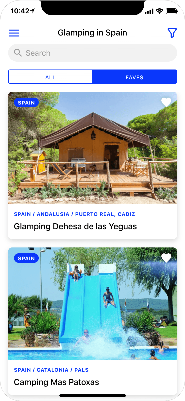 Glamping in Spain - search results page, app screenshot