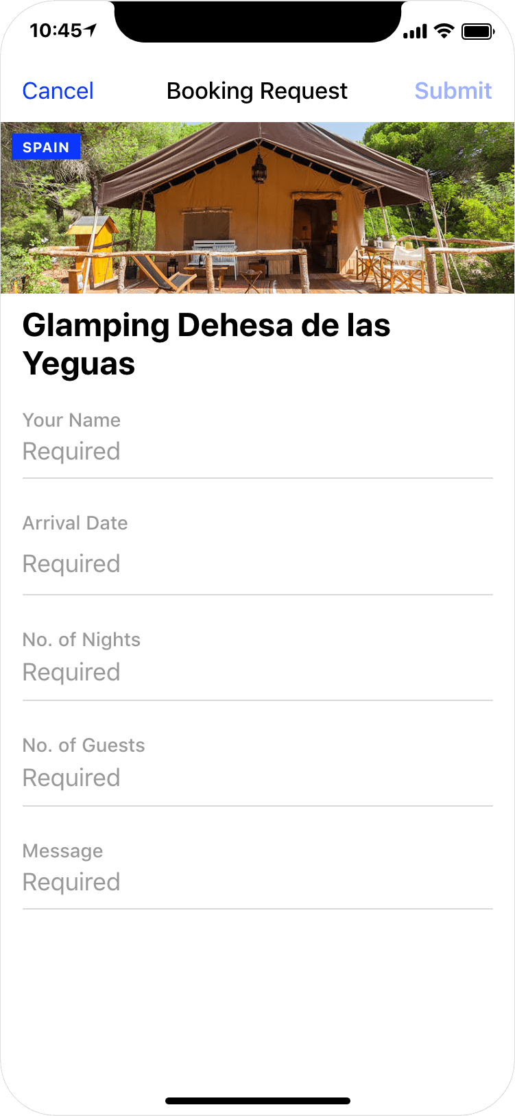 Glamping in Spain - booking request, app screenshot